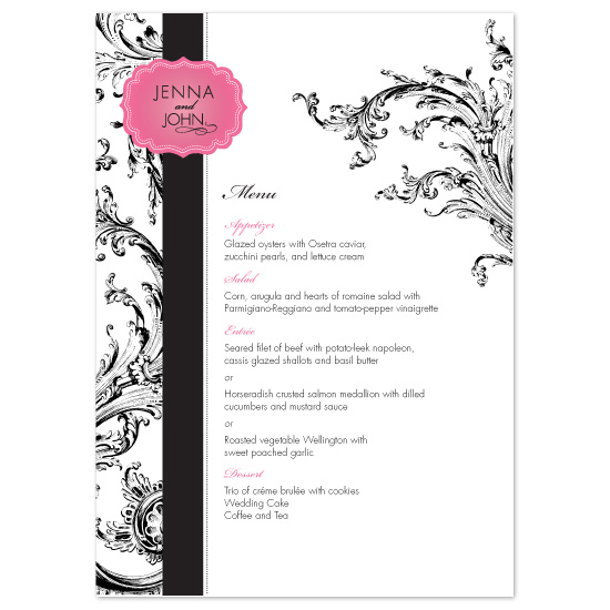menu cards - Elegant Evening by Orange Blossom Ink