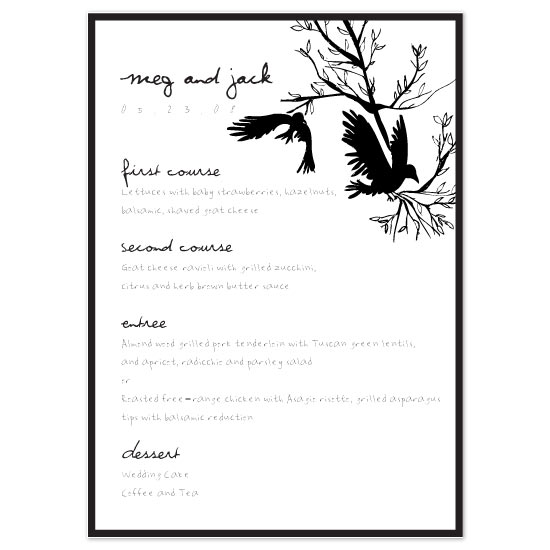 menu cards - Raven by Pixie Stick Press