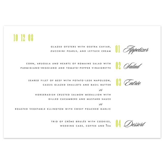 menu cards - Course by Number by Megan Irwin