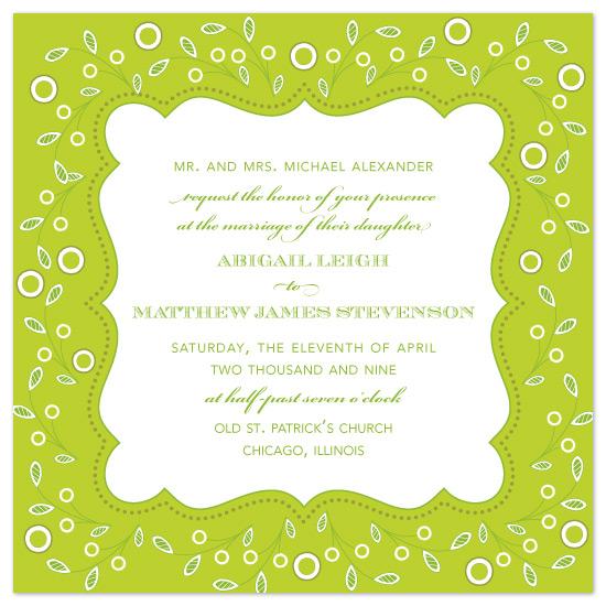 wedding invitations - Leafy Green by Natalie Sullivan Graphic Design