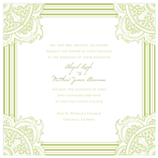 wedding invitations - paisley green by SunnyJuly