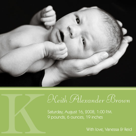 birth announcements - Green Stripes by Molly Campbell