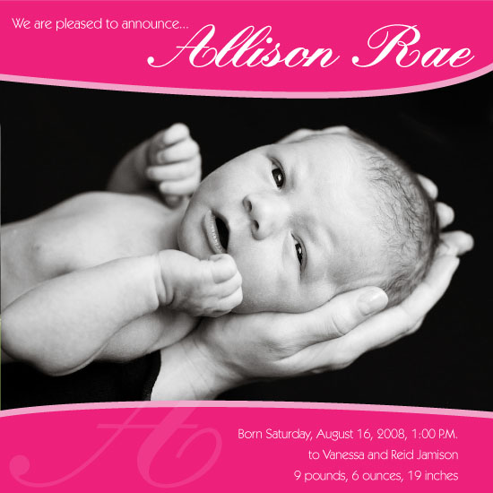 birth announcements - Pretty in Pink by Molly Campbell