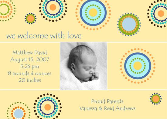 birth announcements - Happy Spirals by 1st Comes Love... Design