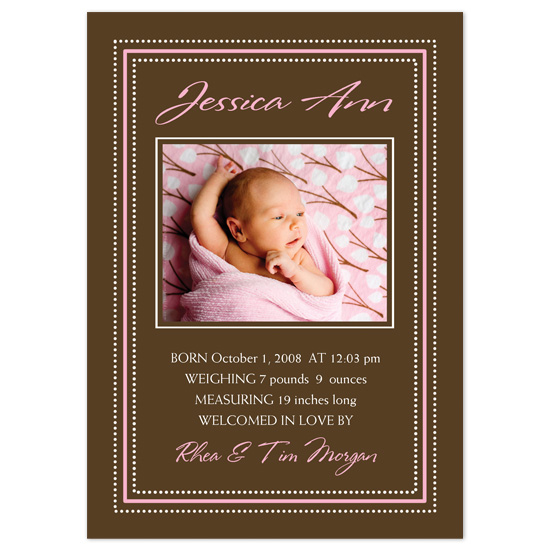 birth announcements - Pink & Brown Delight by PaperDahlCreations