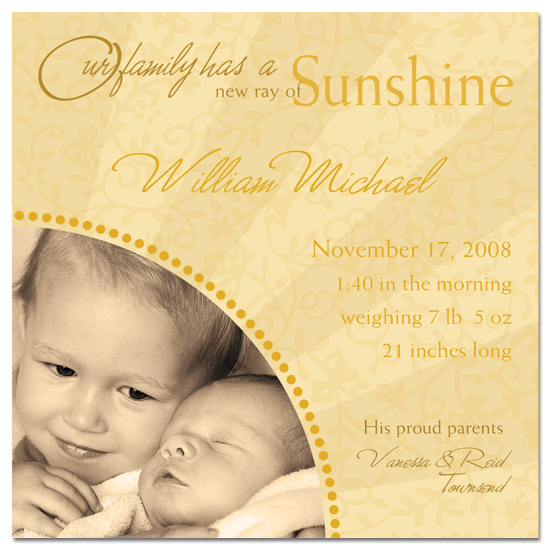 birth announcements - Ray of Sunshine by PaperDahlCreations