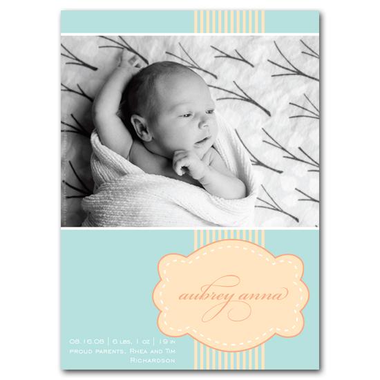 birth announcements - Sweet as a Peach by Carrie Eckert