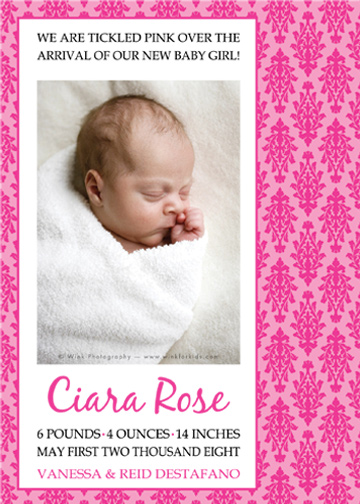 birth announcements - Damask Dreams by Jessica's Design Shop