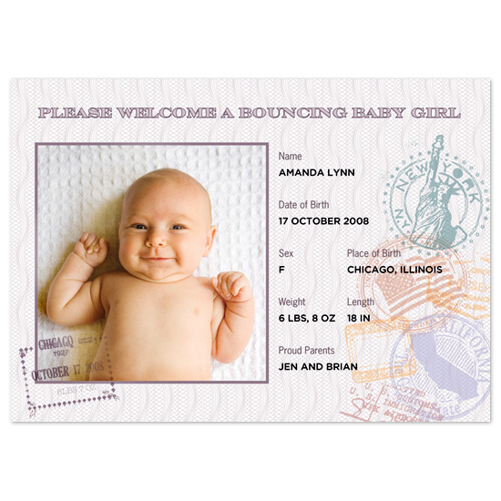 birth announcements - Passport by Milkmaid Press