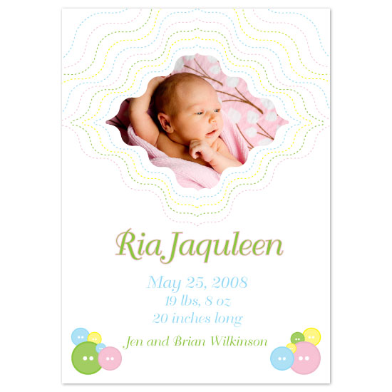 birth announcements - Cute as a Button by Zenadia Design