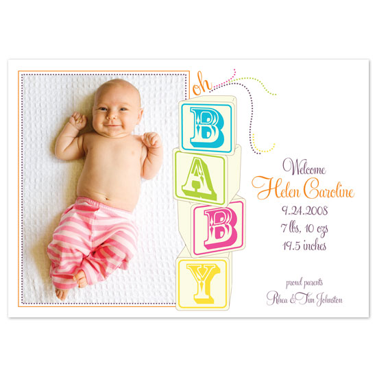 birth announcements - oh baby... blocks by Paper Stories