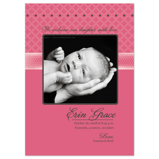 birth announcements - Pink Simplicity by Baby Card Expressions