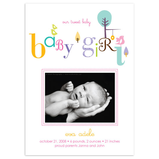 birth announcements - Tweet little girl by Lucky + Lovely
