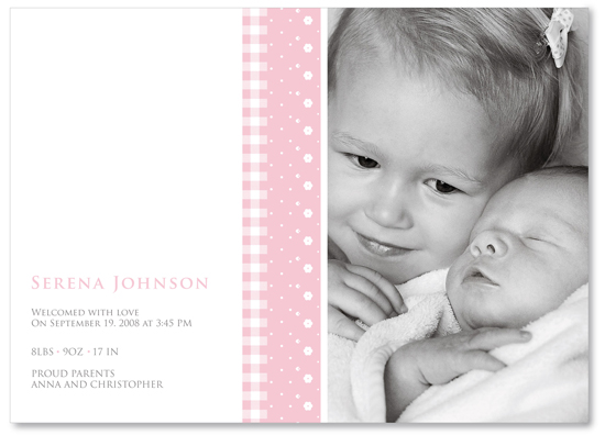 birth announcements - pink ribbons by Ana Inés Guimaraes