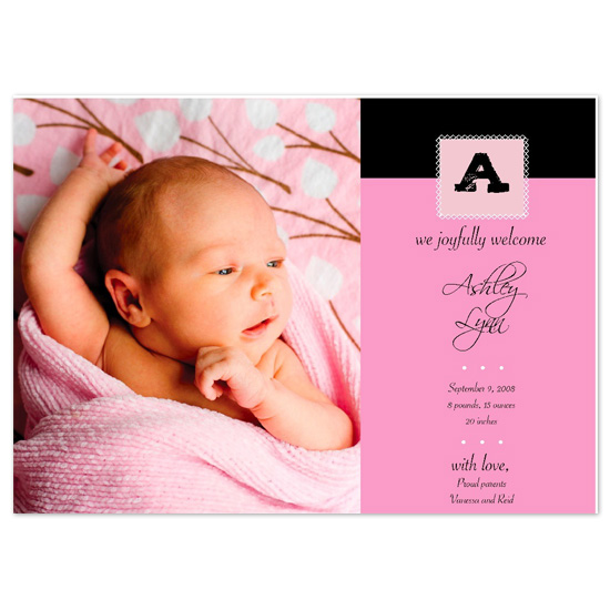 birth announcements - Simply Pink by Kathryn Fischer