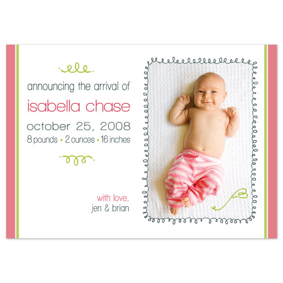 birth announcements - squiggles & stripes baby announcement by emilie kate