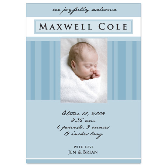 birth announcements - stripes by designer joy