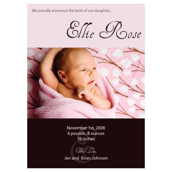 birth announcements - Pretty in Pink by Masterverk Designs