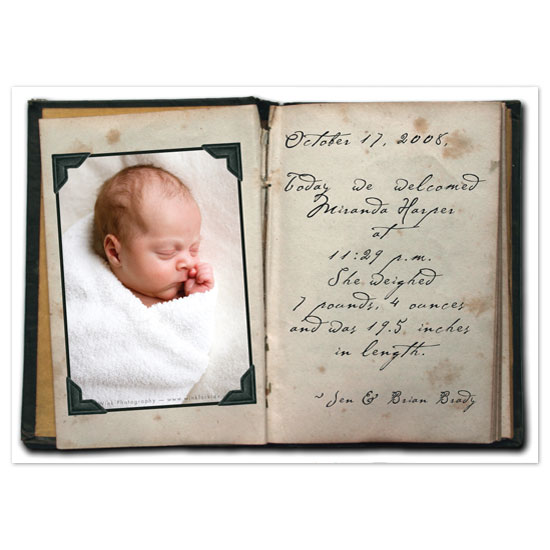 birth announcements - Dear Diary by Paper Stories