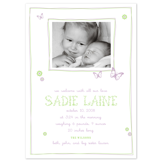 birth announcements - Flutter by Ann Rae Creative