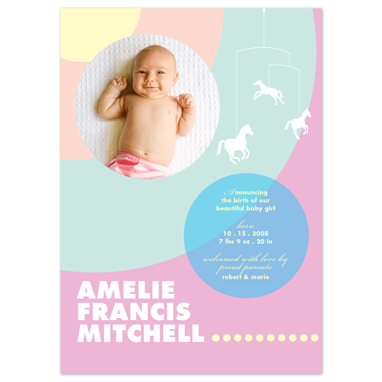 birth announcements - Pastel concentric circles by Chamelle Designs