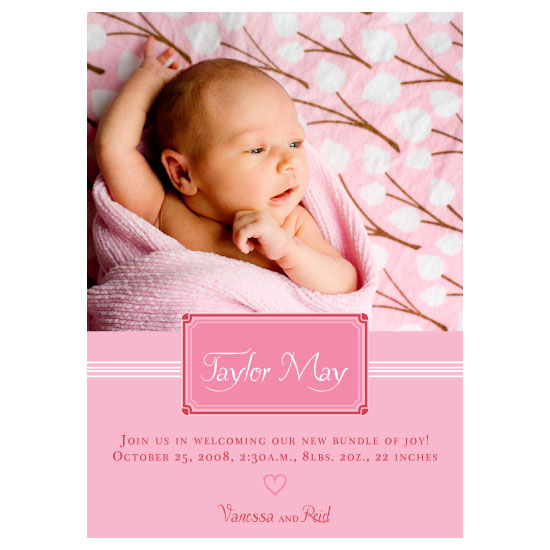 birth announcements - Perfectly Pink by thehouseonbrady
