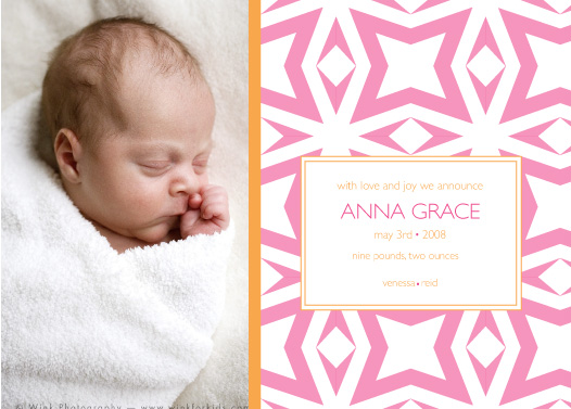 birth announcements - tickled pink by dani notes