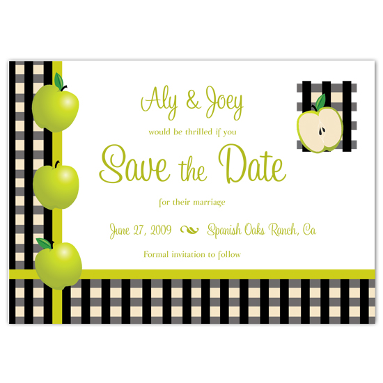 save the date cards - Gingham Granny by PaperDahlCreations