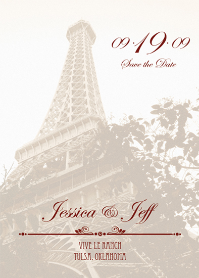 save the date cards - Eiffel Tower by Megan Eileen Designs