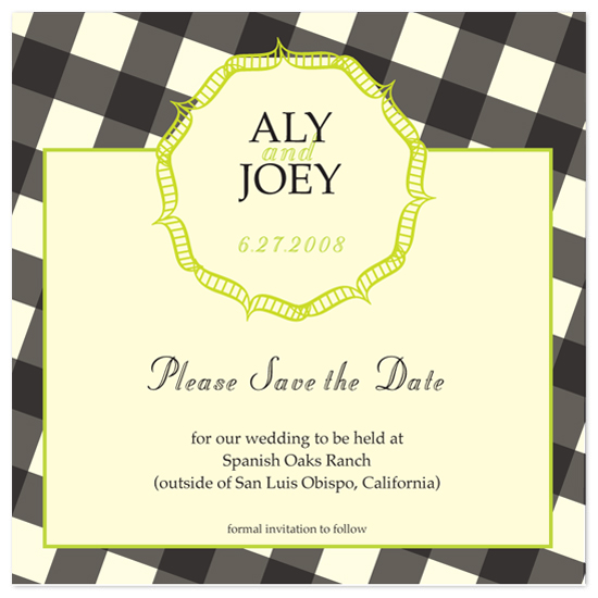 save the date cards - Gingham by l