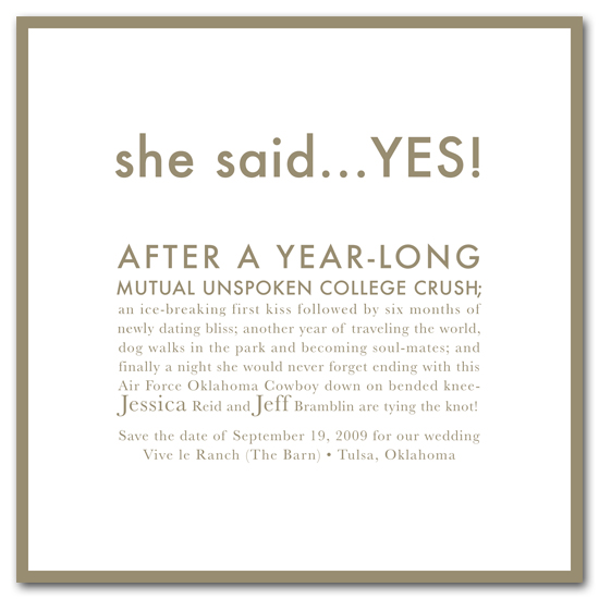 save the date cards - she said Yes! by Carrie Eckert