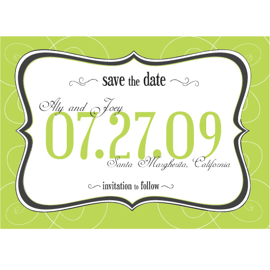 save the date cards - Green with Whimsy by emilie kate