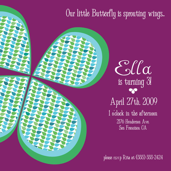 birthday party invitations - Beautiful Butterfly by Megan Eileen Designs