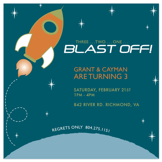 birthday party invitations - Fly me to the Moon by Sublime Design