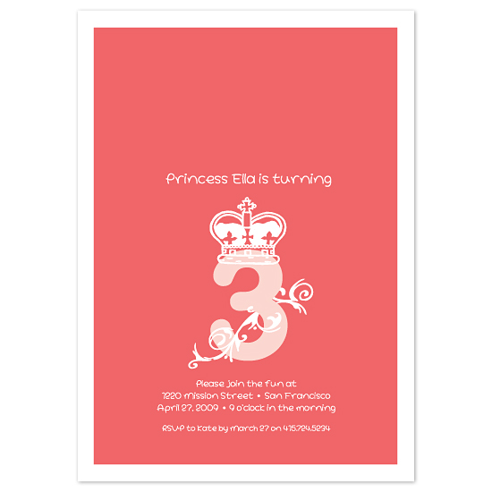 birthday party invitations - Princess 3 by Chamelle Designs