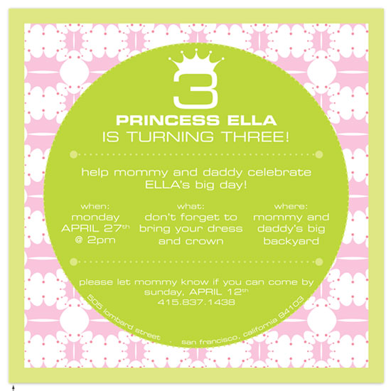 birthday party invitations - Princess and the Pea by T.K. Designs
