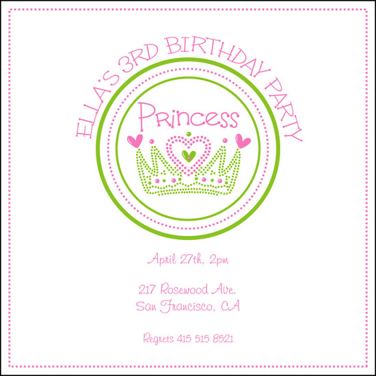 birthday party invitations - Crown for the princess by Ssongji