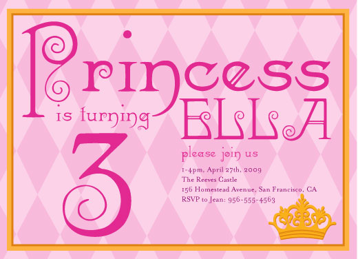 birthday party invitations - Princess Pink by Andrea Westervelt