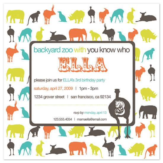 birthday party invitations - backyard zoo at minted, Birthday invitations