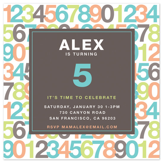 birthday party invitations - NUMBERS by Melanie Lantin