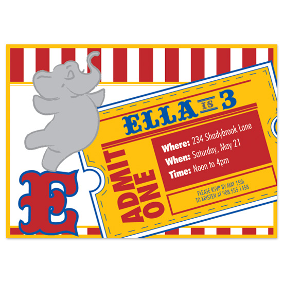 birthday party invitations - Circus Ticket by l