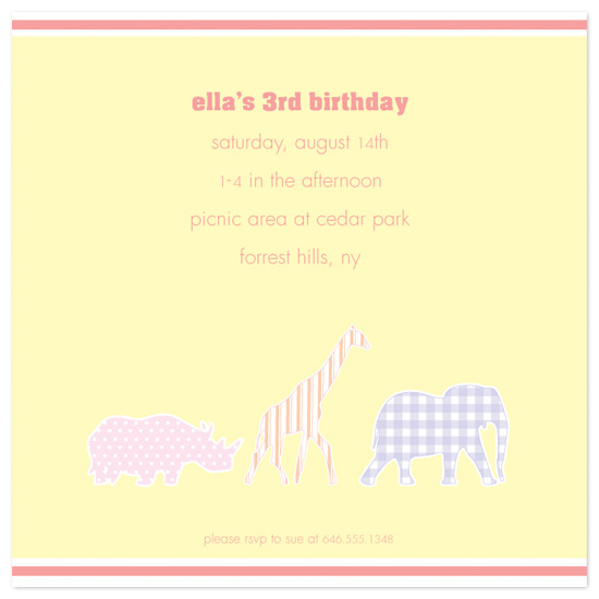 birthday party invitations - Pretty Zoo by l