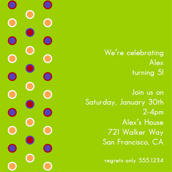 birthday party invitations - Polky Dots by 1st Comes Love... Design