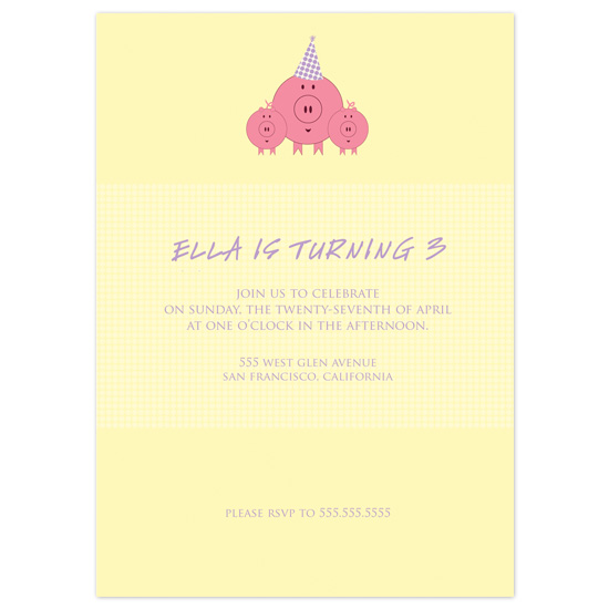 birthday party invitations - These Little Piggies by Letter19Design
