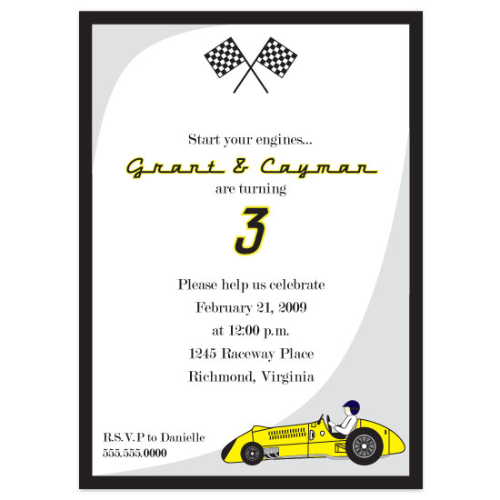 birthday party invitations - Start your engines!! by Zenadia Design