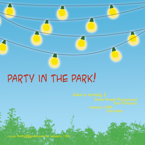 birthday party invitations - Party in the Park by Megan Eileen Designs