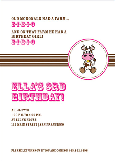 birthday party invitations - E-I-E-I-O by Susan McArdle