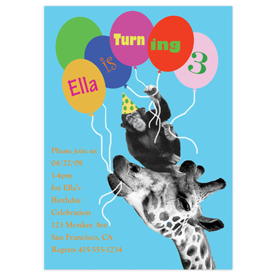birthday party invitations - Monkey See Monkey Zoo by Colleen Garrison