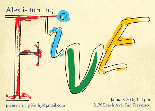 birthday party invitations - Hand Painted 'Five' by Megan Eileen Designs