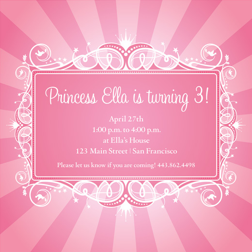 birthday party invitations - Pink Princess by Susan McArdle